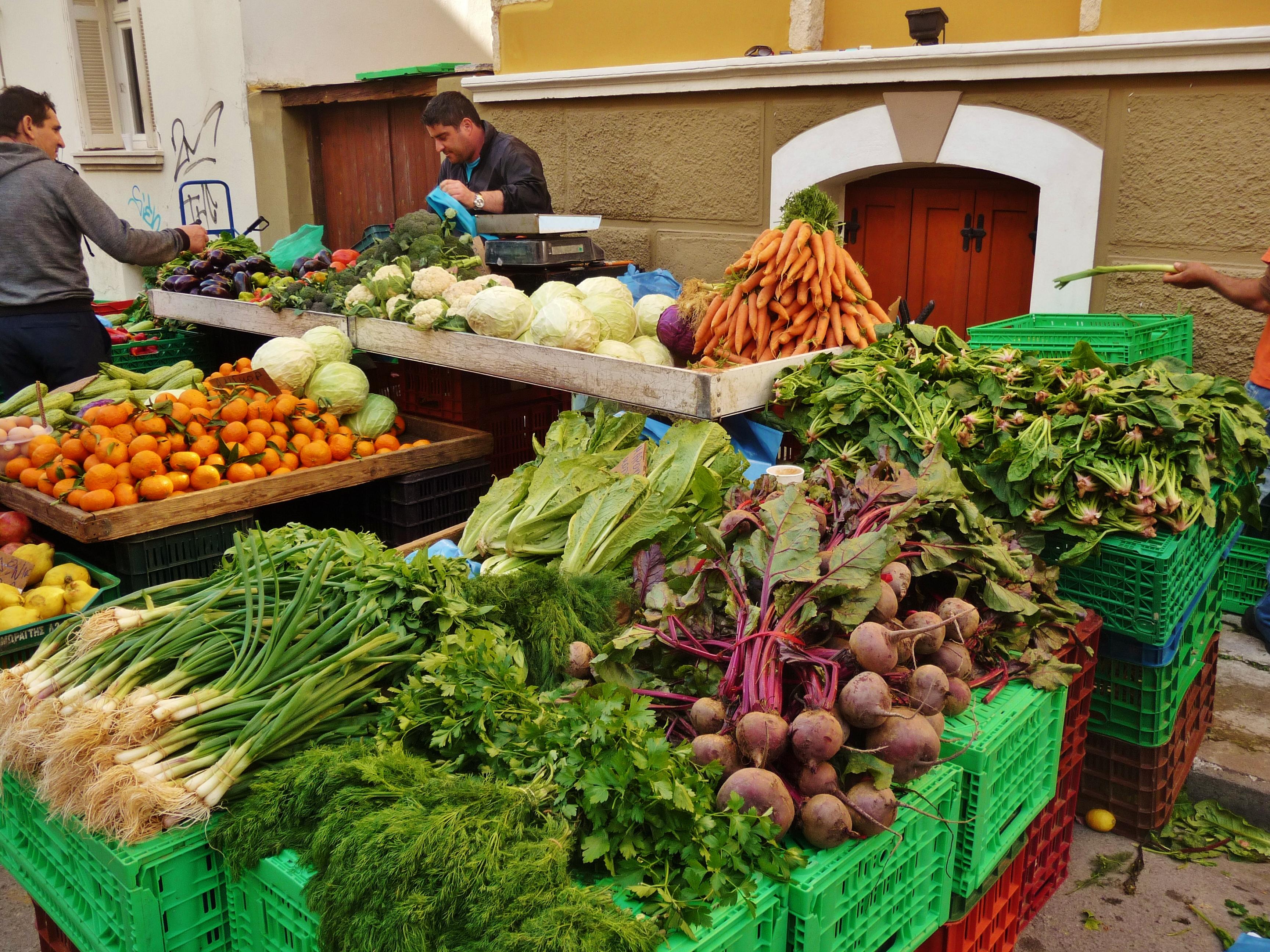 Vegerables & fruit, piled high