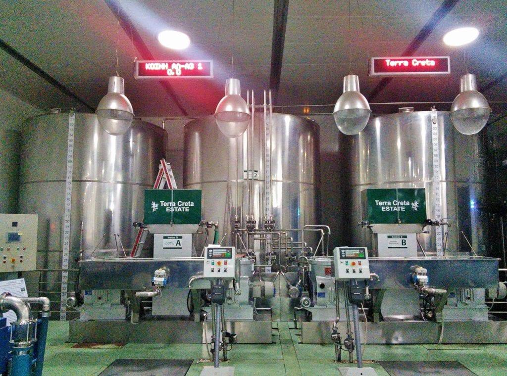 Terra Creta;s modern plant for producing Cretan olive oil
