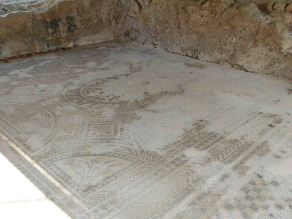 The Roman mosaic is well preserved but a bit dusty