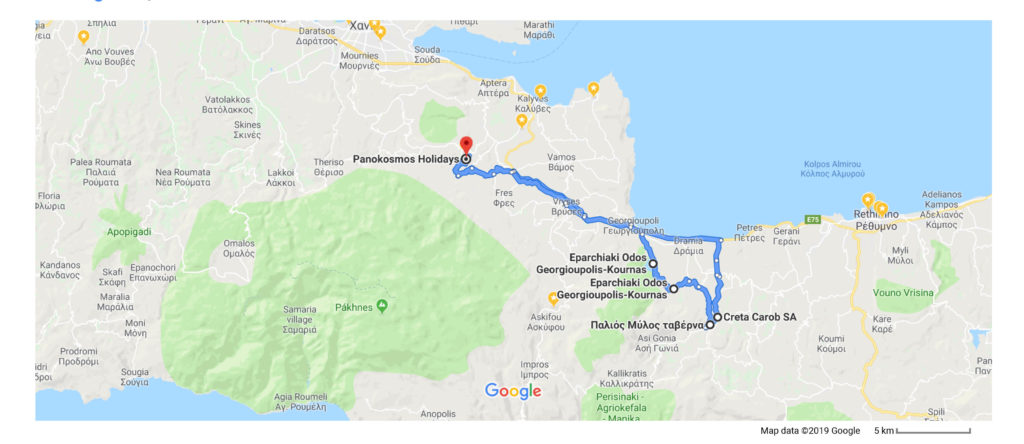 A map of the drive from Panokosmos