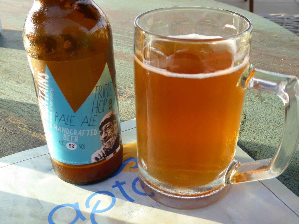 Lafkas White Mountains ale at Aptera Beach