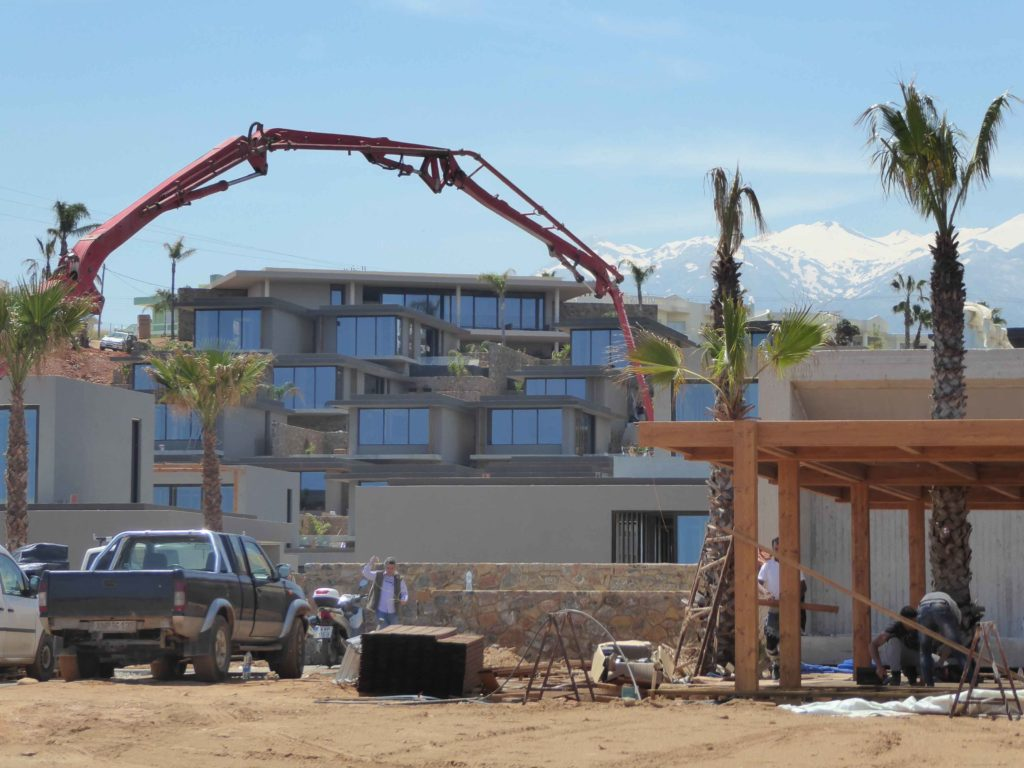 Still pouring concrete at Casa Cook a few days before opening