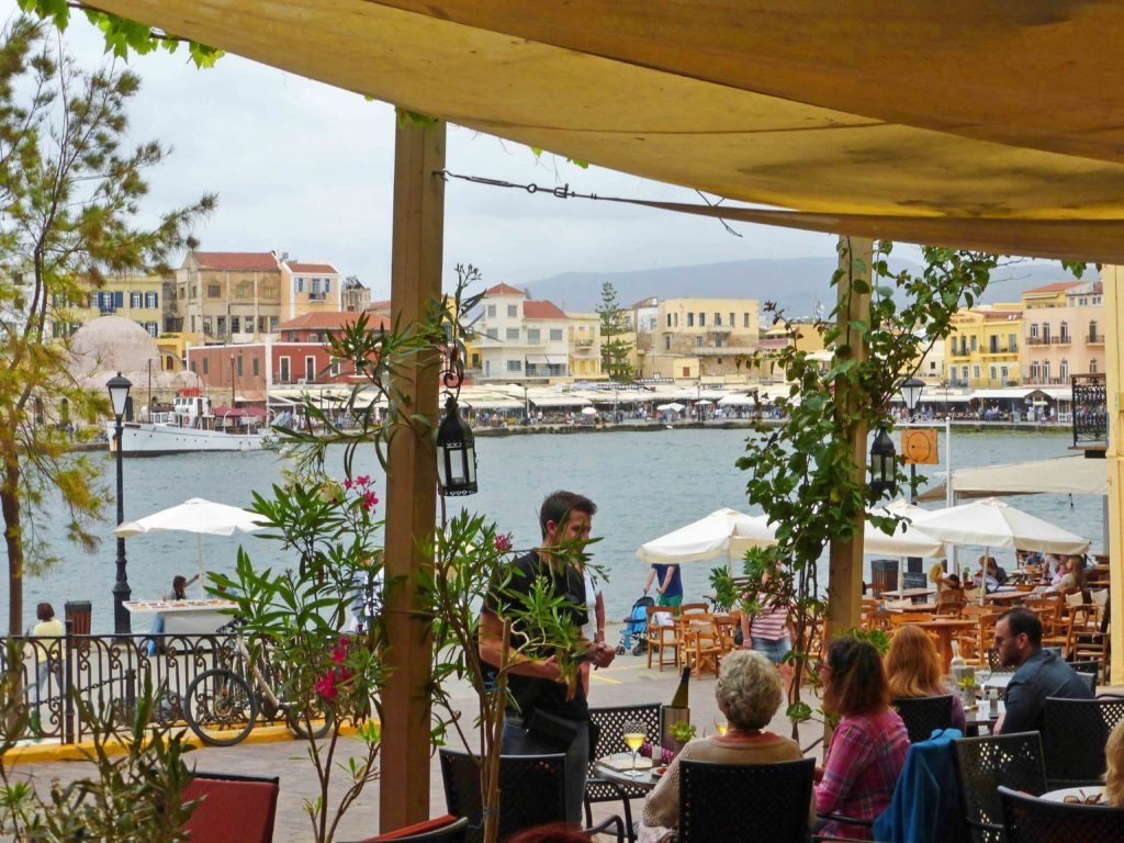 The harbour front from Al Canea, charming wine bar good for people watching