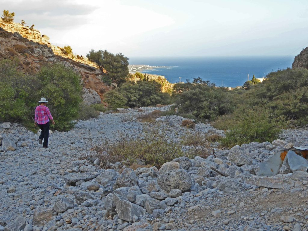 Exiting the Imbros gorge, with the sea in the distance