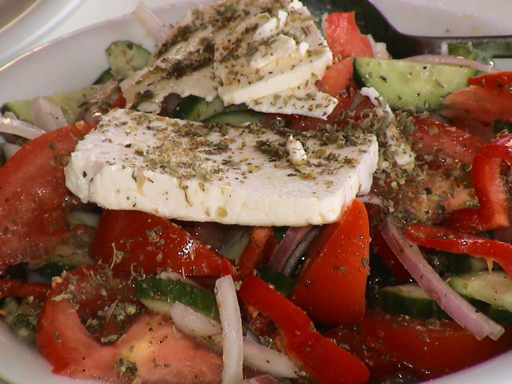 Greek salad with feta - a key part of the Cretan Diet
