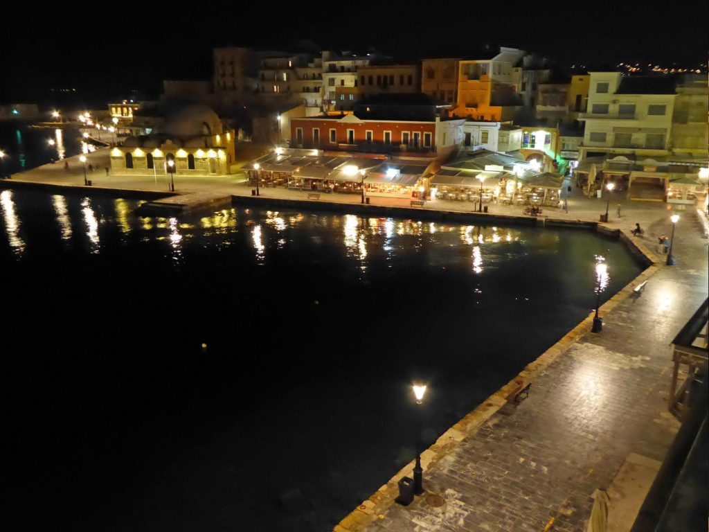 Lights of Chania harbour front at night