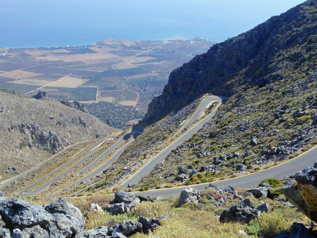 Spectacular hairpins on the road from Kalikratis gorge to the Libyan Sea