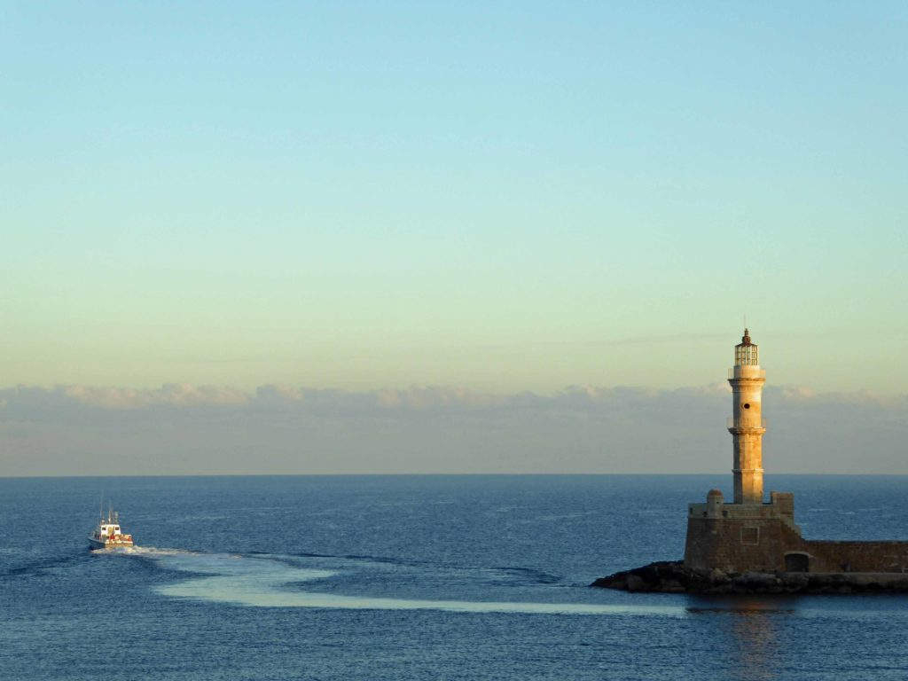 The Venetian lighthouse on Chania harbour front
