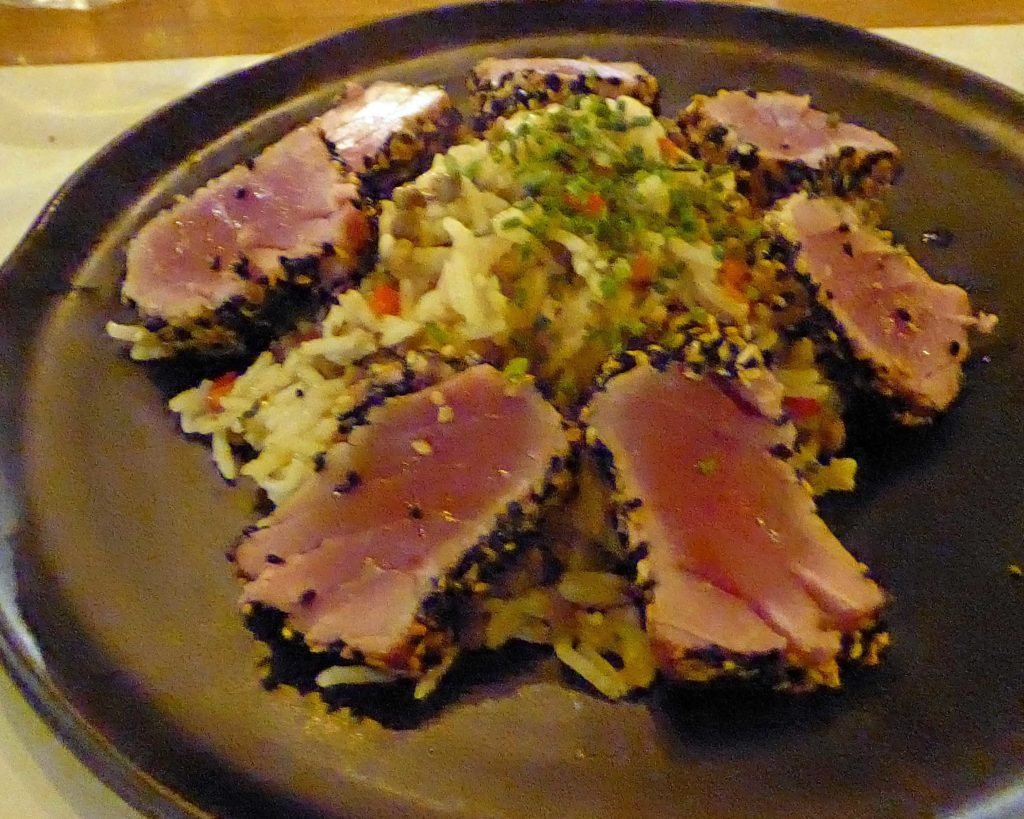 Seared black sesame crusted tuna at Salis