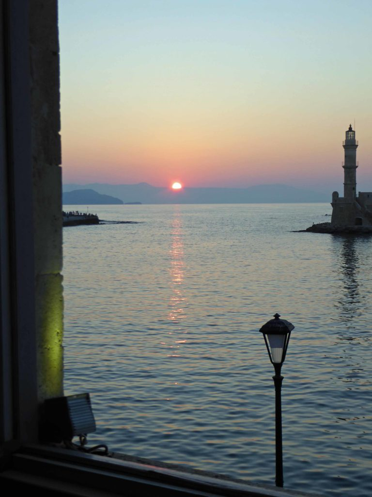 Sunset over Chania harbour front