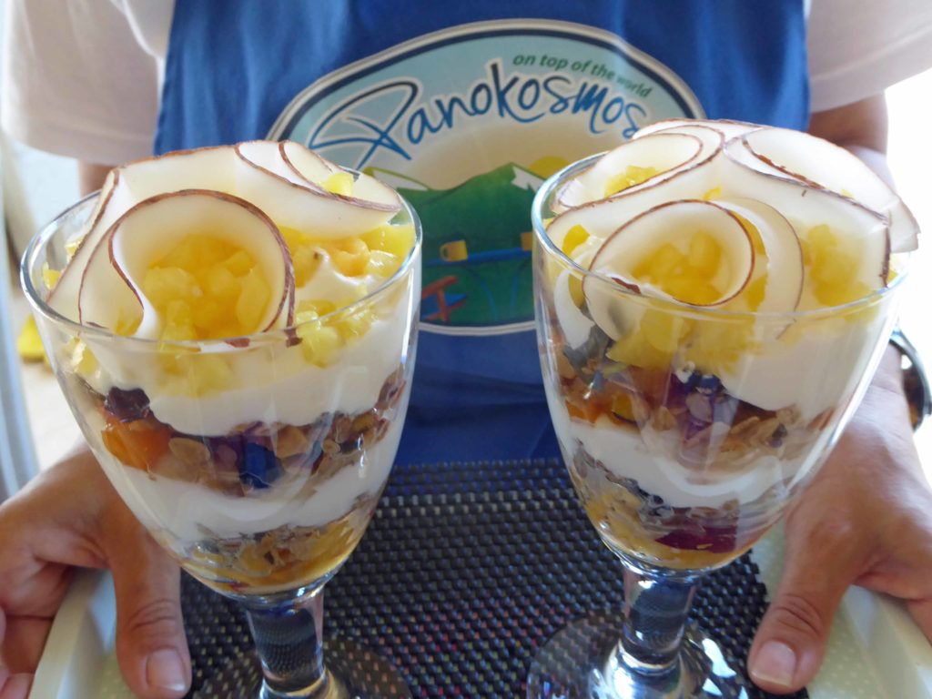 Yasmin's trifle at Panokosmos made with home made granola and Greek yoghurt