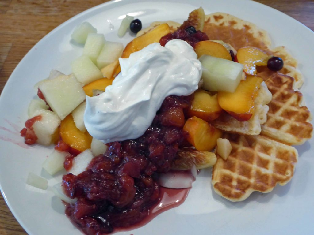 Not part of the Cretan diet exactly but Panokosmos waffles with fresh fruit