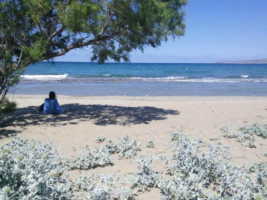 Having a holiday in Crete; Relaxing on the beach at Kalyves