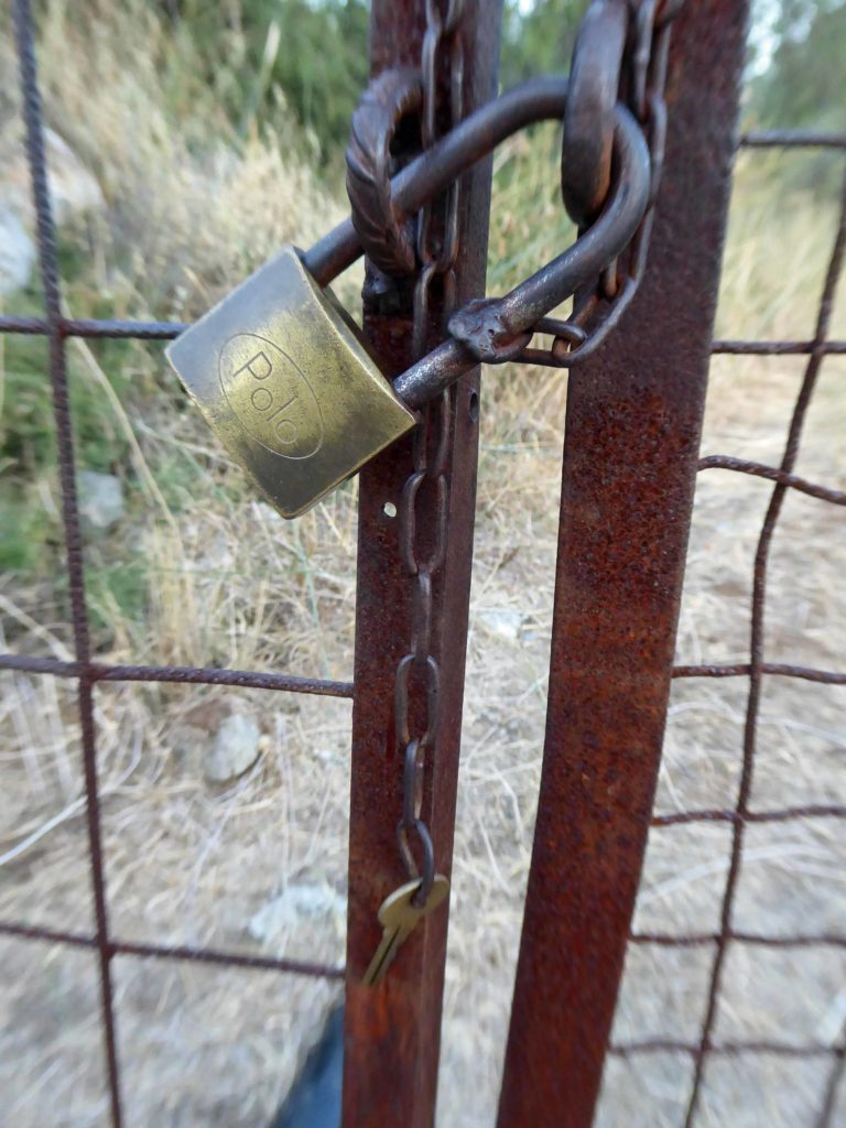 Cretan security - the padlock has its key on a chain, attached!