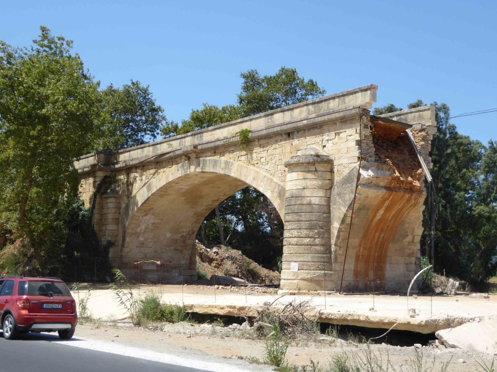 Storm damage to the bridge near Vatolakkos