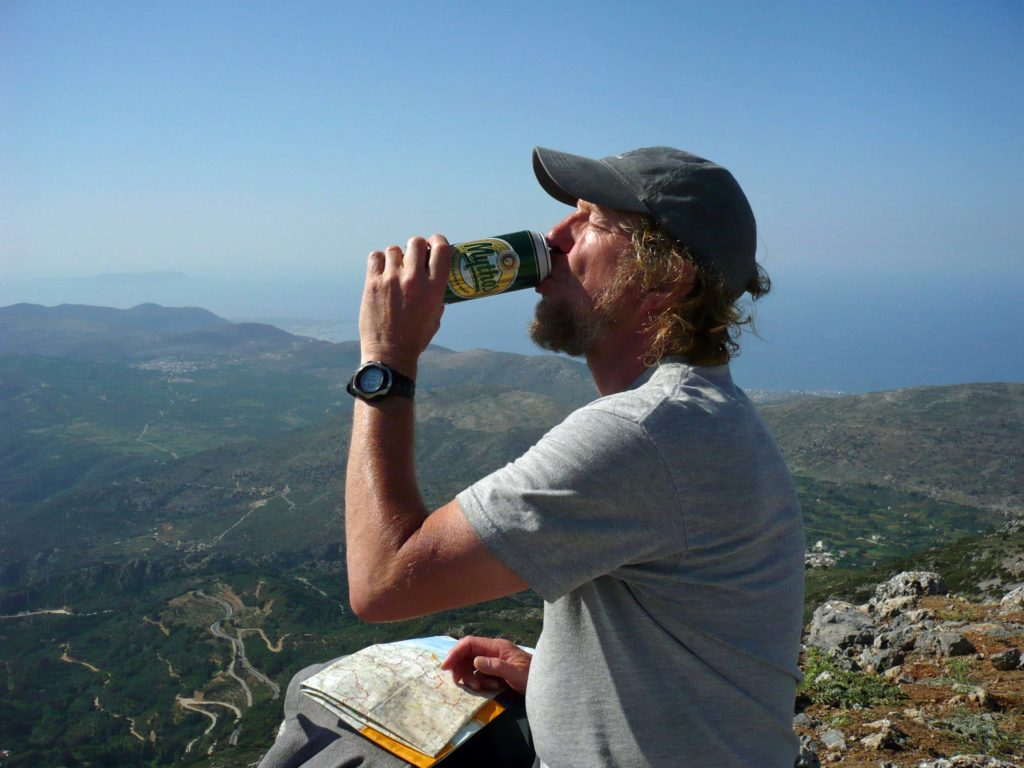 Drinking Mythos out of the can on Korfi in the Lassithi, Crete