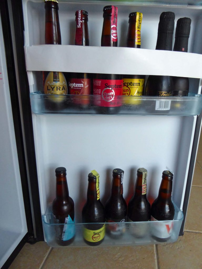 Beers in the Honesty bar fridge at Panokosmos