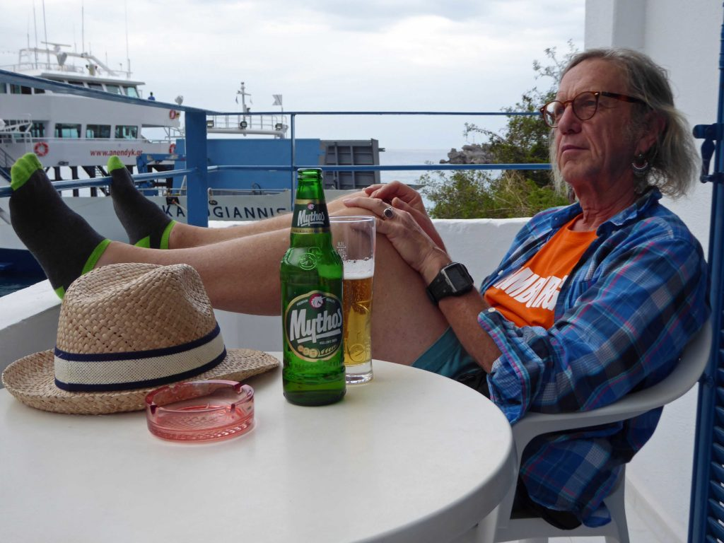 Relaxing with a Mythos at Loutro