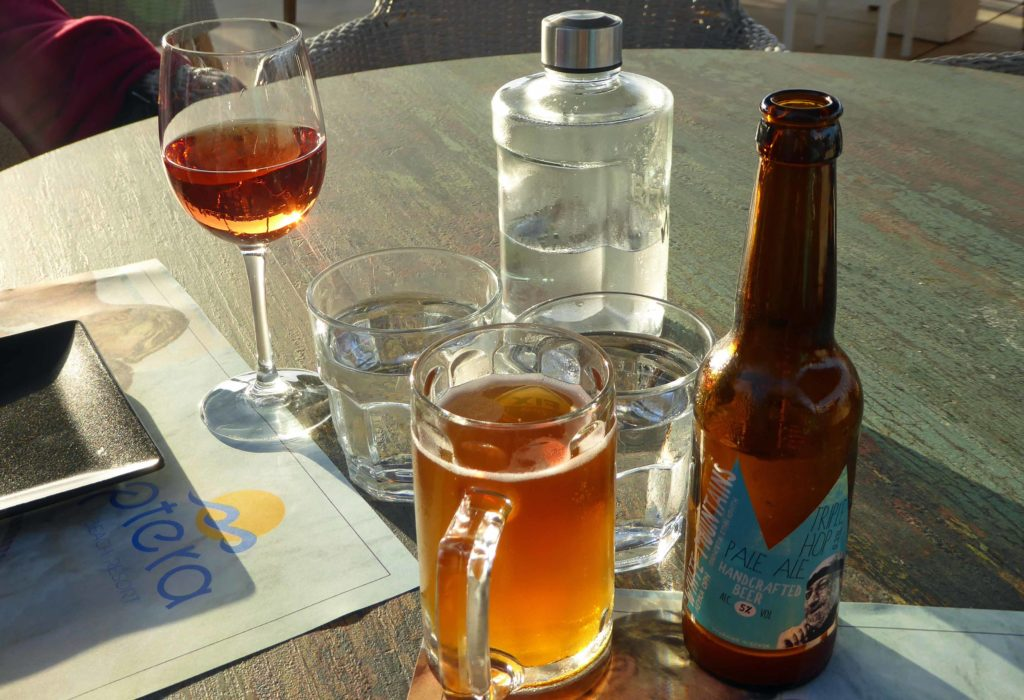 Water, White Mountains ale and wine at Aptera beach resort